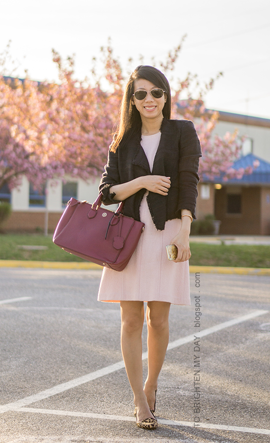 navy tweed open jacket, pink wool shift dress, burgundy tote with navy luggage tag, leopard flats, rose gold bracelet