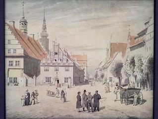 Aquarell des Greifswalder Marktes mit der Familie Friedrich, Caspar David Friedrich, 1818