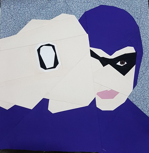 Paper pieced superhero THE PHANTOM. Tested for Michelle Thompson of fandominstitches.com Pieced by Hannah Hughes