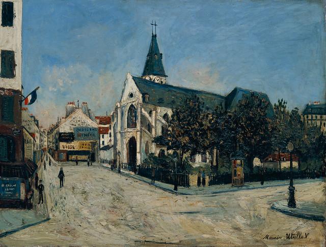 モーリス・ユトリロ《サン=メダール教会とムフタール通り》(1913年、姫路市美蔵・国富奎三コレクション)