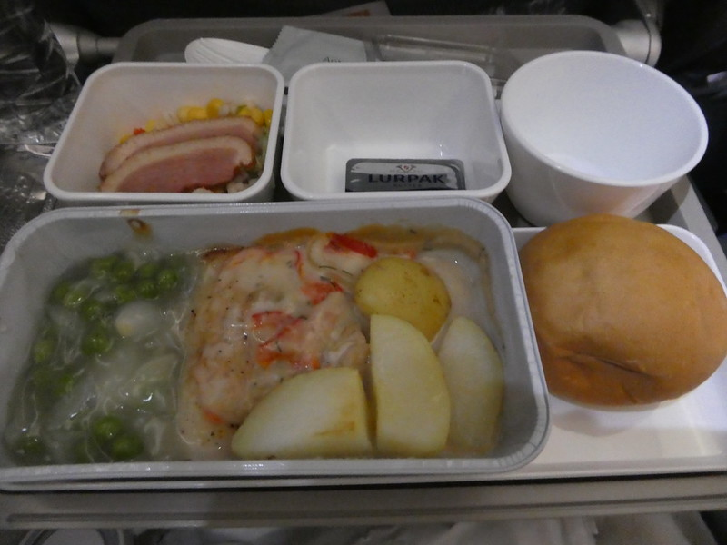 Dinner on Cathay Pacific flight from Hong Kong to London