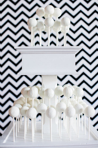 Cake pop display with chevron backdrop | by Sweet Lauren Cakes