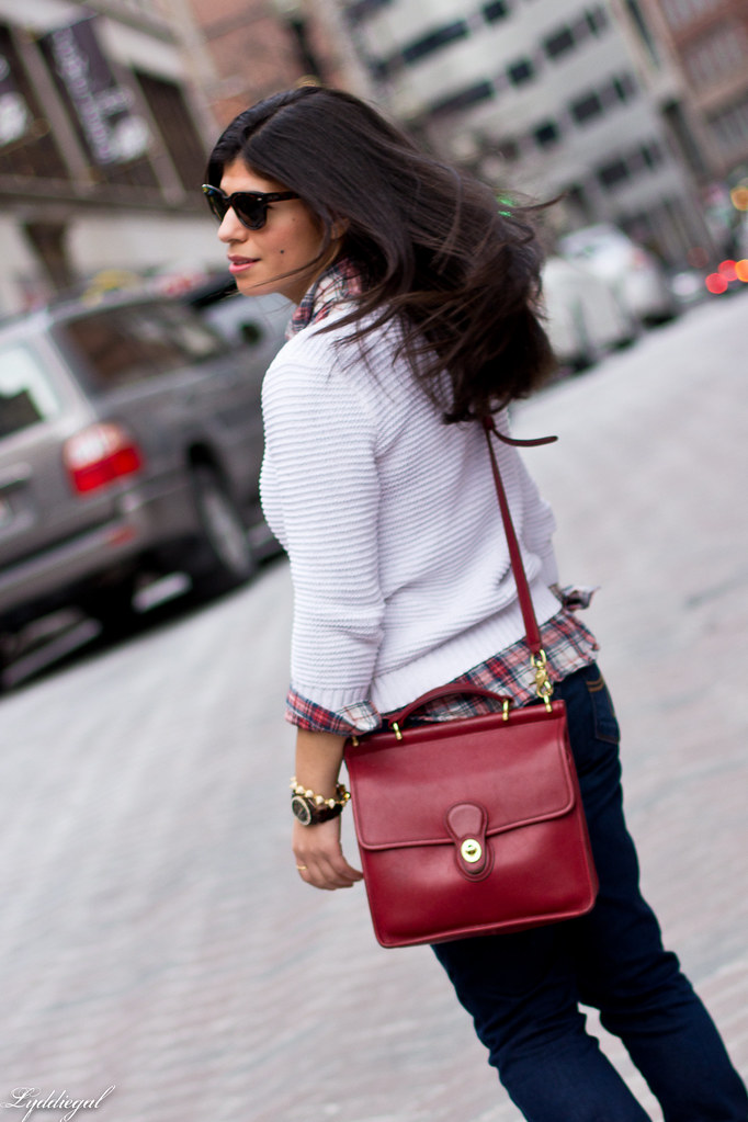 white sweater, plaid shirt, red coach bag-4.jpg
