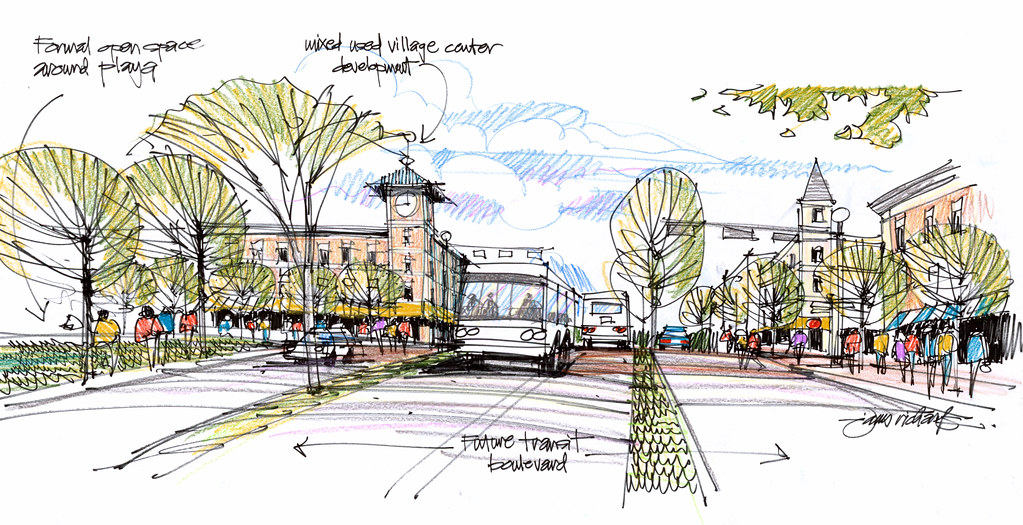 Quick urban design concept sketch | Idea for transit bouleva… | Flickr
