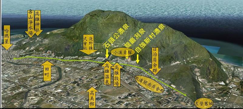 柴山(壽山)與鼓山路(綠色線條)之間的人文史料。