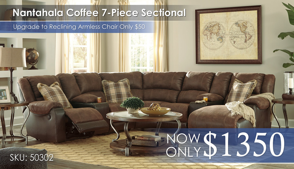 Nantahala Coffee 7PC Sectional 50302-40-57-19-77-46-57-17-T739-PILLOWS