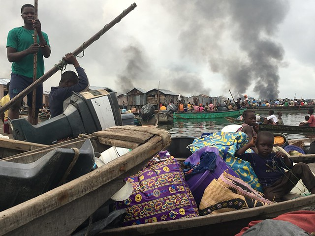 Otodo Gbame evictees were suffering fire on the water in wooden boats on the Lagos Lagoon