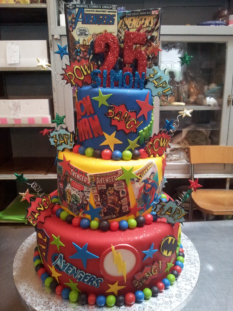 comic book wedding cake 3 tier chocolate heroes themed cake covered i 12910