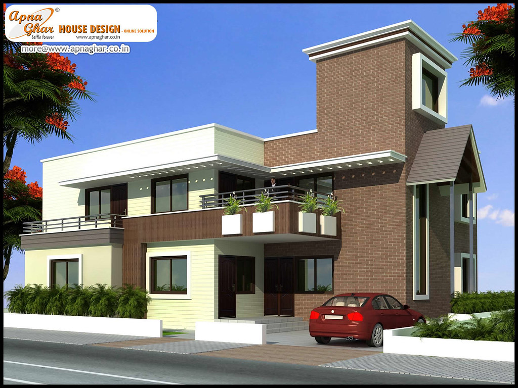 Modern duplex house elevations images for Normal home front design