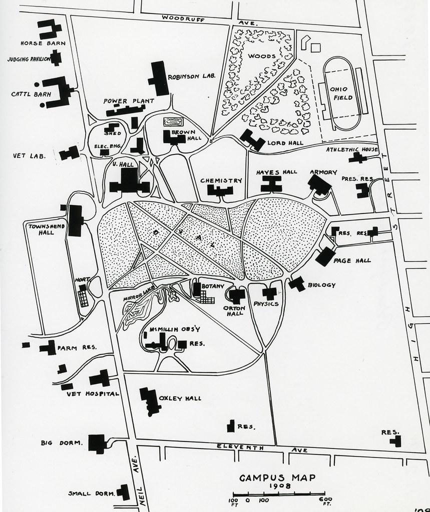 Ohio State Map Campus.1908 Campus Map Campus Map Bradford Restoration 1908 The Ohio