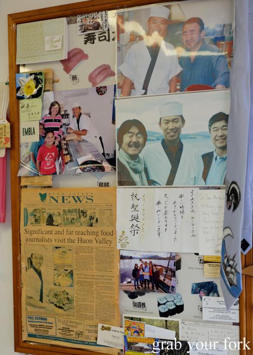 Photos of Masaaki Koyama with Wakuda Tetsuya and Iron Chef Hiroyuki Sakai at Masaaki's Sushi in Geeveston, Tasmania