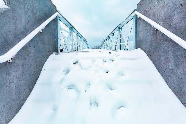 Snowy Bridge Stairs