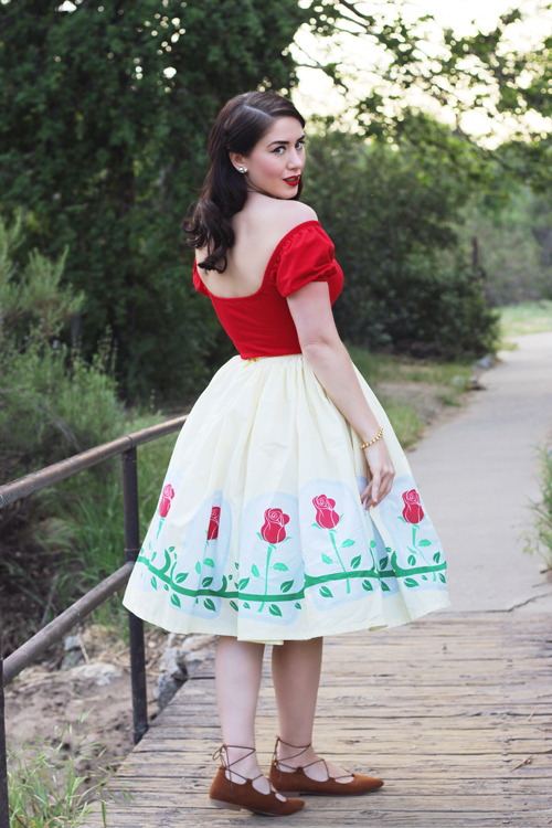 Powder Puff Top in Red by Vixen by Micheline Pitt Vintage Inspired by Jackie Belle Inspired Full Skirt