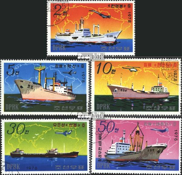 Známky Severná Kórea 1978 Lode, razítkovaná séria