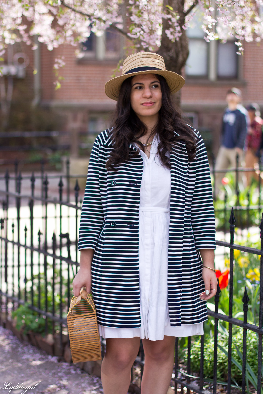 white dress, striped coat, white mules, straw hat-2.jpg