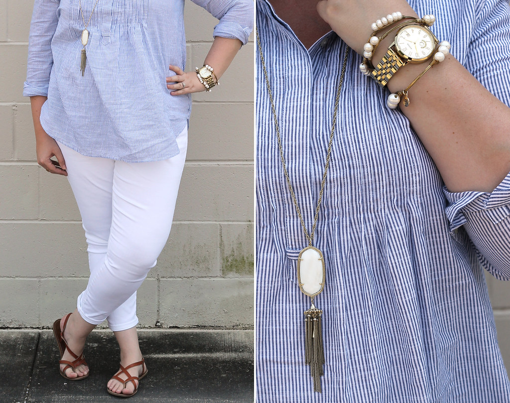 blue stripe pintuck popover, white jeans and strappy sandals_1