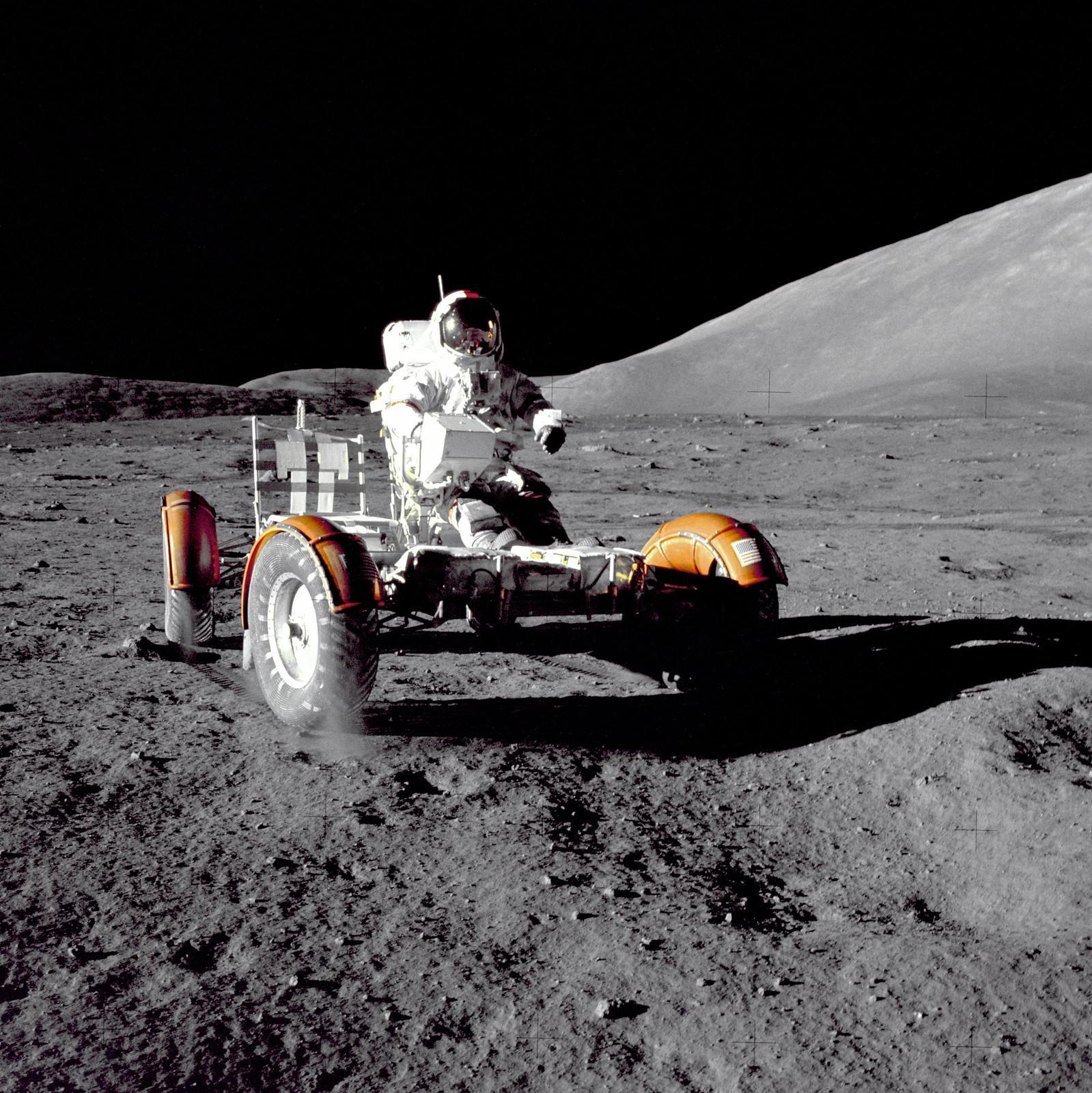 Cernan Driving the Rover