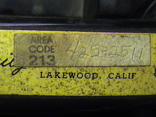Automatic Electric model 80 monophone handset 'Glow-in-the-Dark' radium sticker from Dilday Family Mortuary melanoma and other cancers which plagued this family
