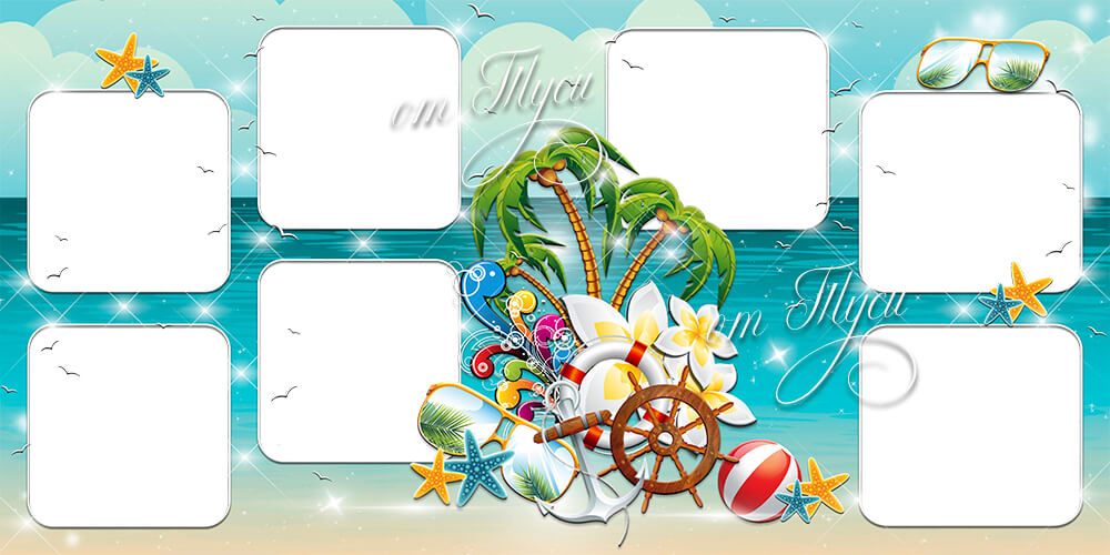 Family photo album about a seaside holiday for Photoshop in PSD