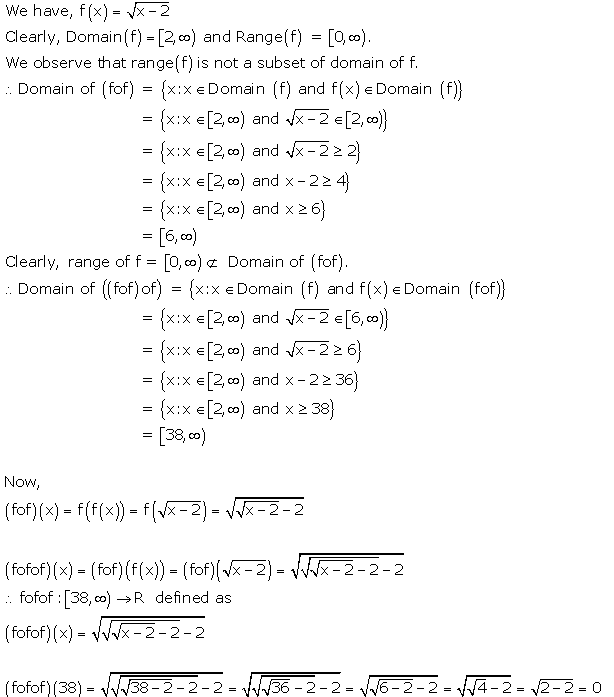 RD Sharma Class 12 Solutions Free online Chapter 2 Functions Ex2.3 Q11-iii