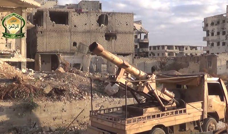 Syria-truck-cannon-faylaq-al-rahman-irbin-damascus-area-2015-ytb-1