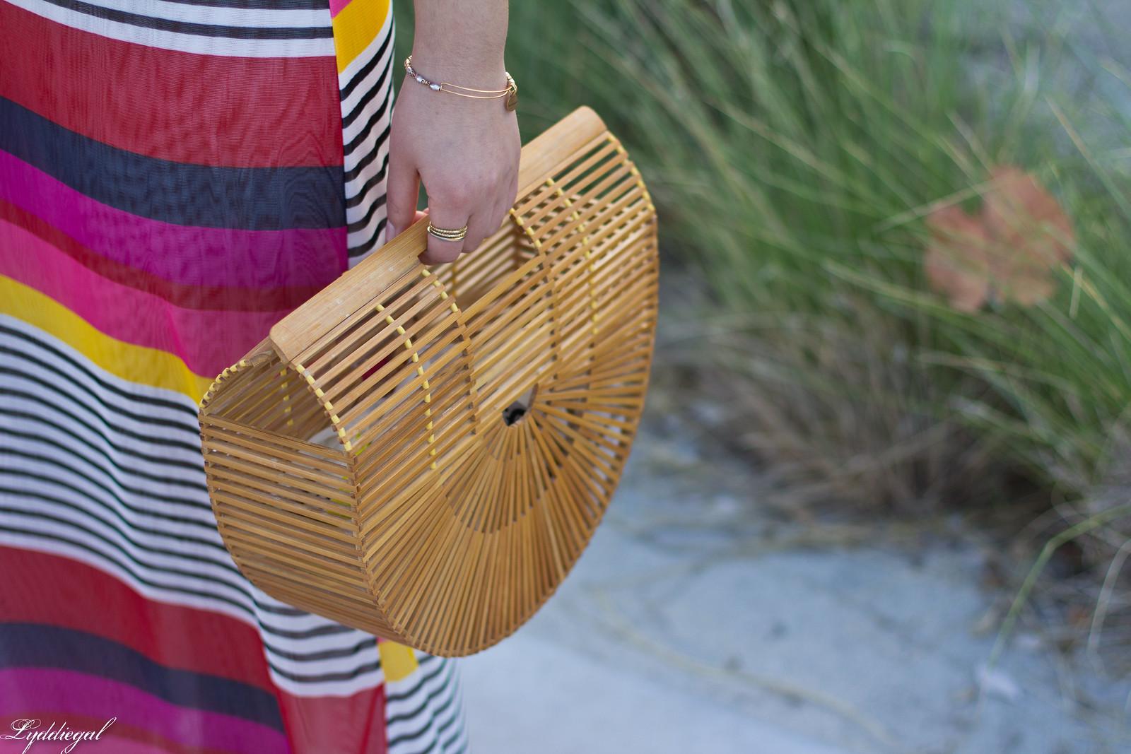 pink striped maxi dress, bamboo half moon bag, beach outfit-4.jpg