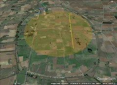 Mantinea, Greece. 1 kilometer diameter, 800M run in yellow