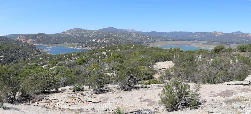 Panorama view of Lake Morena from the PCT