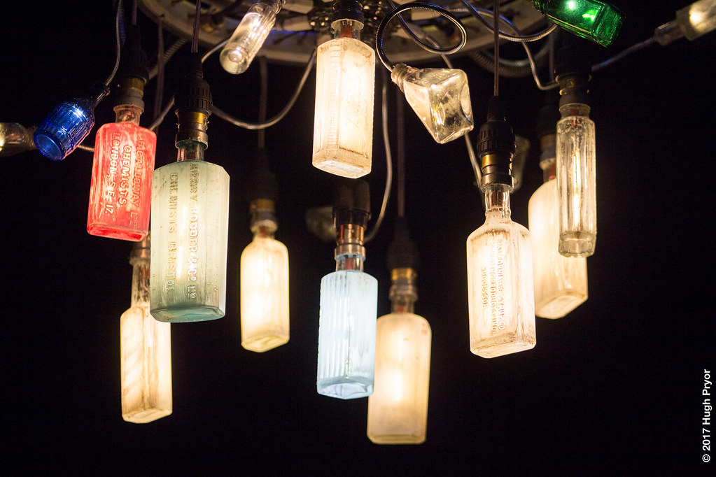 Bottle Bulb chandelier installation