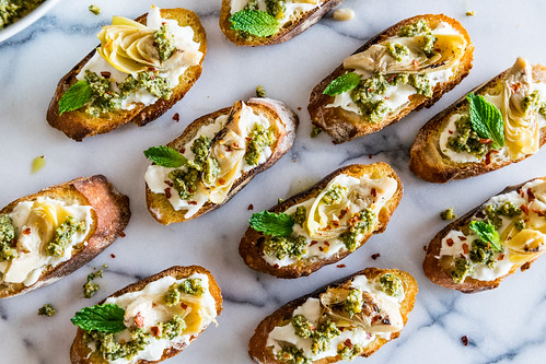 burrata artichoke tartines with roasted lemon mint pesto