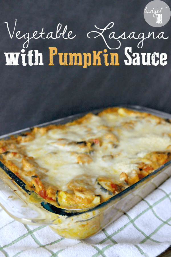 Vegetable Lasagna in Creamy Pumpkin Sauce