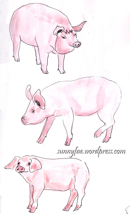 Sketch of pink pigs 2