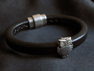 Licorice leather bracelet (owl) | by Helmetti