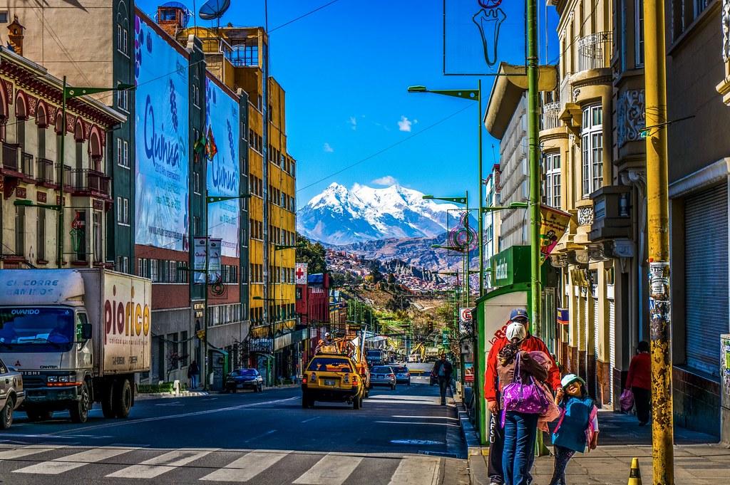 Streets Of La Paz Bolivia Snowy Mountains Of La Paz