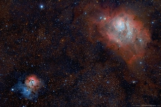 The Trifid and Lagoon nebulae, Messier 20 and Messier 8 | by schmitzcory