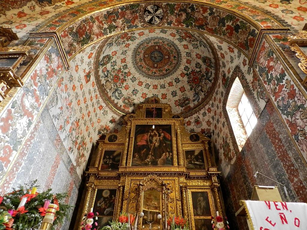 Vista del interior del Templo de San Jerónimo Tlacochahuaya