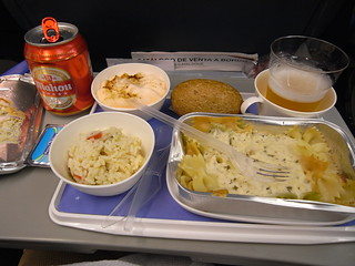 Air Europa Airbus pasta lunch