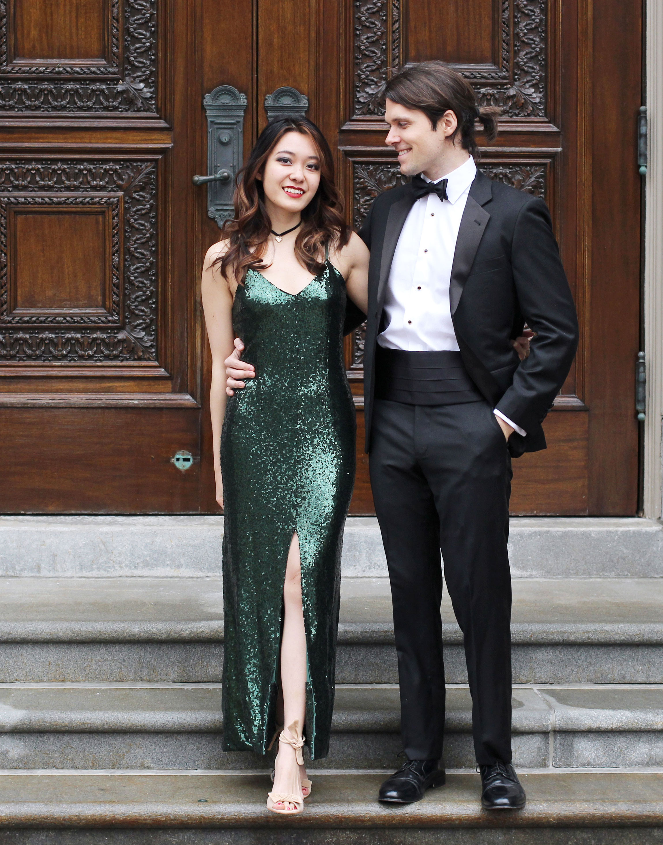 Barristers Ball Harvard law school - black tie formal sequin gown