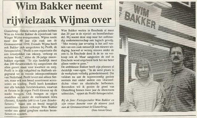 1999-09-07 Wim Bakker neemt rijwielzaak Wijma over