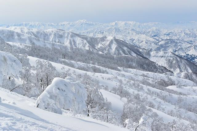 冬の守門岳から眺める越後三山