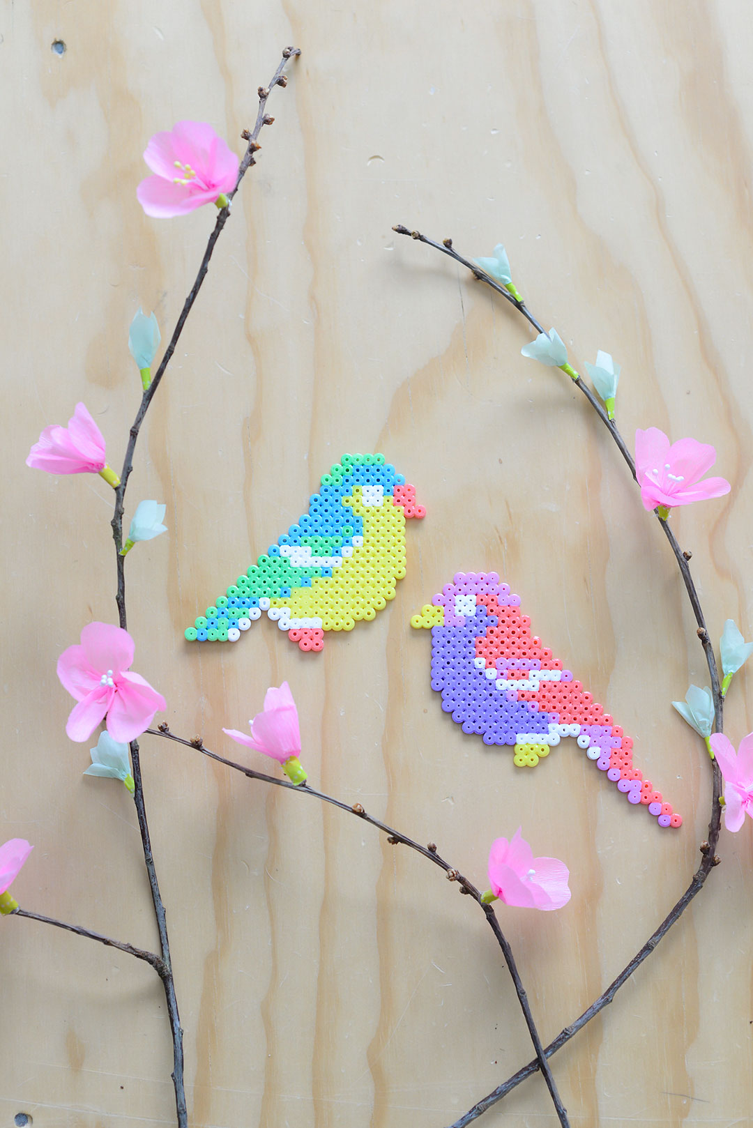Easter decorations: Hama bead birds