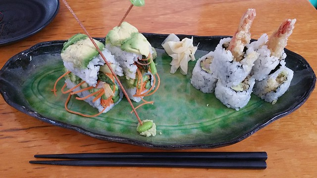 2017-Apr-21 Kishimoto - mamenoki roll, dynamite roll (right)
