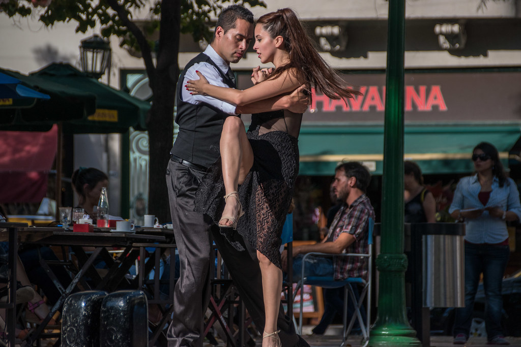 Tango dancers in Buenos Aires, Argentina. Neighbourhood of San Telmo.