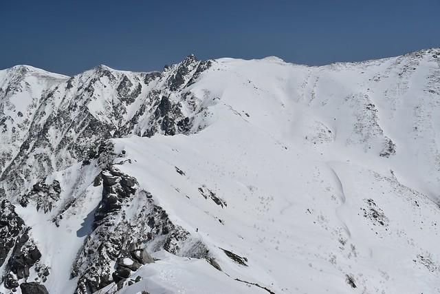 宝剣岳~三ノ沢岳の雪の稜線