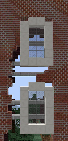 Really interesting cracked building window design in mine for Window design minecraft