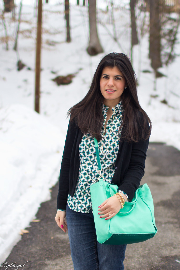 printed top, black cardigan, mint bag-3.jpg
