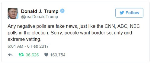 川普宣稱,所有負面結果的民意調查都是假新聞。