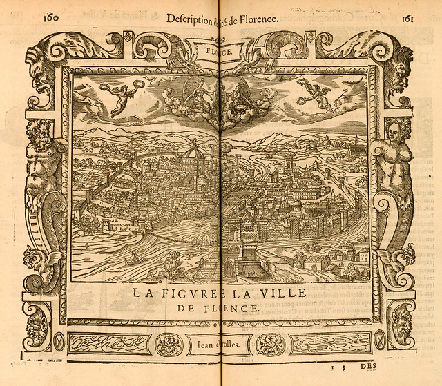 Antoine du Pinet (c.1510-c.1584) - View of the town of Florence, Italy. Includes the Arno River, angels, and coat of arms (1564)