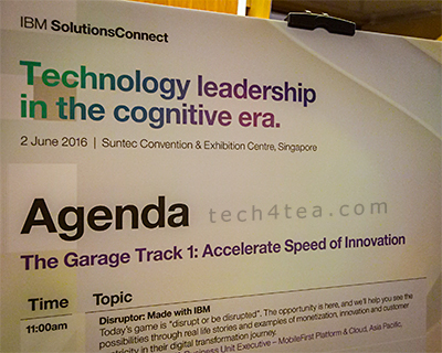 Following the two keynote presentations at the one-day thought leadership conference by IBM in Singapore, there were two concurrent one-and-a-half-hour Garage Tracks, one on accelerating the speed of innovation and the second on insights-driven IT. I followed the former to find out more about how to extend infrastructure investments to drive innovation. This is the first presentation in this Track.
