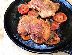 Chicken under the skillet